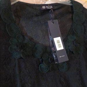 Simple Flowered Black Dress XL